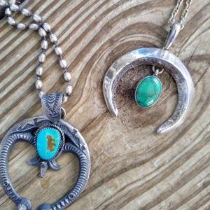 Huge Sterling silver Turquoise Naja pendant
